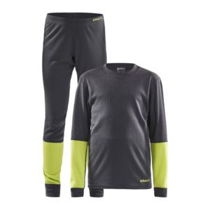 Set CRAFT Baselayer JR 1905355-995618 tm. sivá sa zelenou