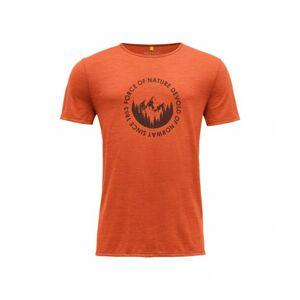 Pánske vlnené tričko s krátkym rukávom Devold Leira GO 293 280 O 087A oranžová L